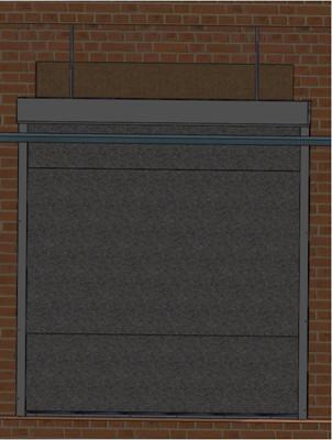 монтаж противопожарных штор на подвесах, полотно опущено
