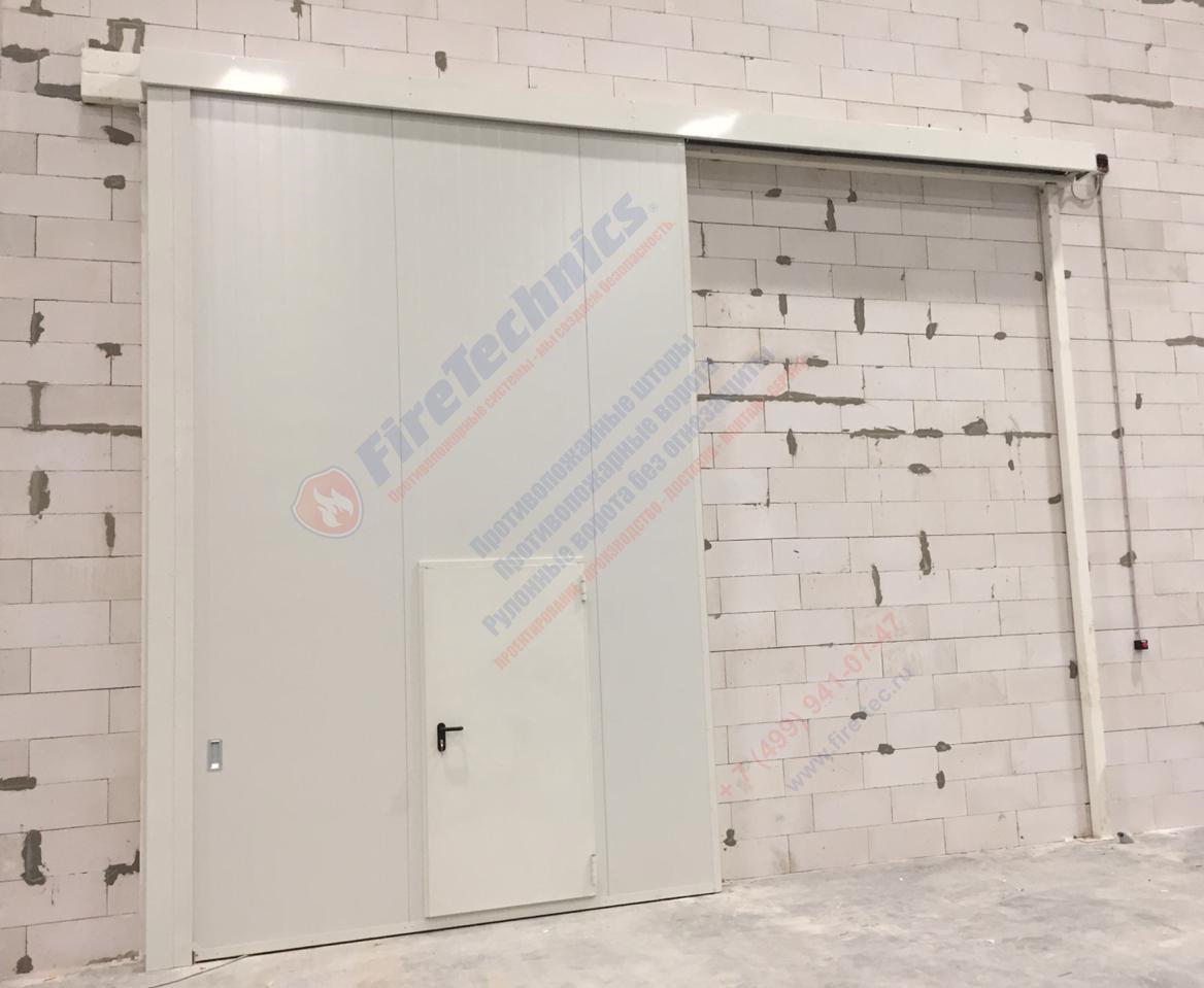 Откатные противопожарные ворота FireTechnics-Р EI60 с дверью, без люка, Складской комплекс